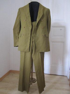 60er 70er Olivgrüner Anzug, Zweireiher, original, U.S.A., tadellos, vintage