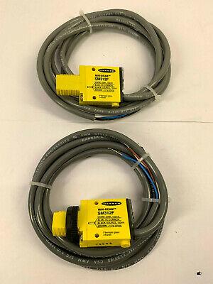 New Lot Of 2 Banner Mini-beam Sm312f Fiber Optic Sensor Wwiring