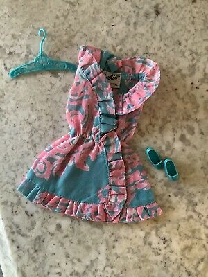 Vintage BARBIE RUFFLES 'N SWIRLS 1970 Outfit #1783 Dress, Shoes, Hanger