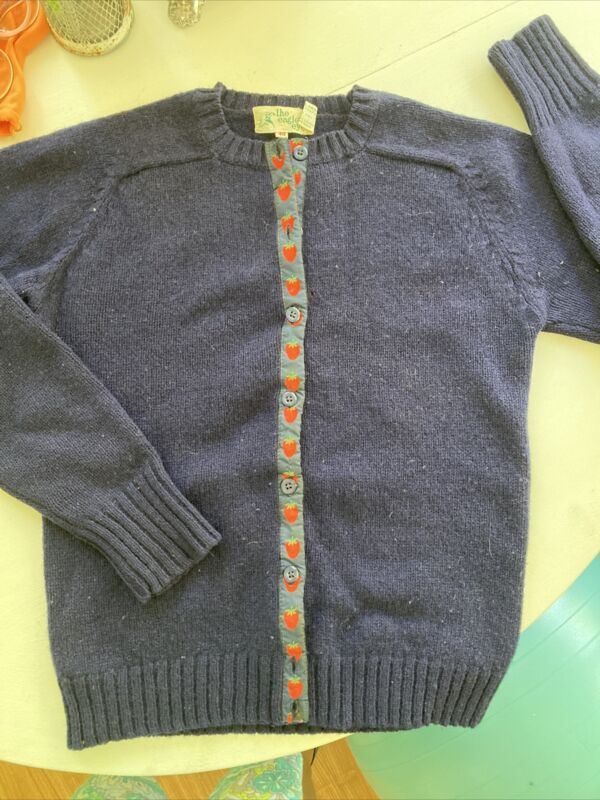 The Eagle's Eye Vintage Boiled Wool Cardigan Grosgrain Preppy Strawberries 40