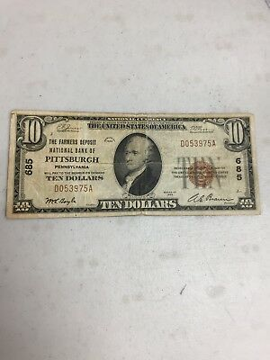 Series Of 1929  10 The Farmers National Bank Of Pittsburgh Pa  National Currency