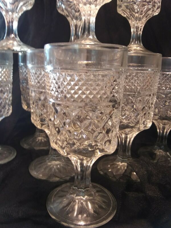 "Anchor Hocking WEXFORD 6 1/2"" Tall WATER GOBLET Glass set of 5"