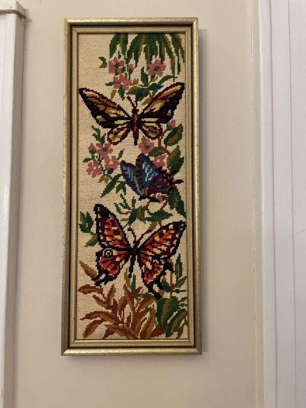 vintage cross stitch framed Butterflies