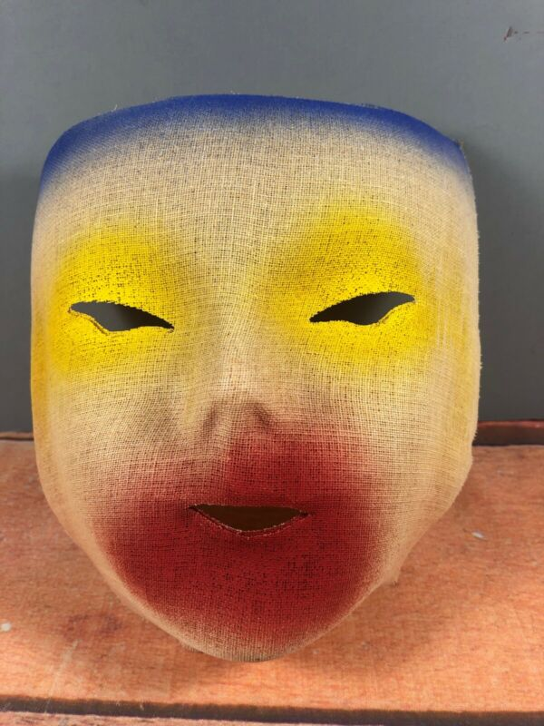 Vintage Painted Linen Fabric Face Mask Multi Colored Face Halloween 16H