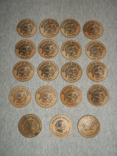 Mixed Lot of (19) Wooden Nickels ~ Mostly Pennsylvania ~ Free Shipping