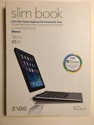 ZAGG Slim Book Ultrathin Case Hinged W/Detachable Bluetooth Keyboard Ipad Air 2