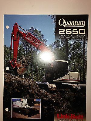 Link Belt 2650 Quantum Excavator Sales Literature Specifications.