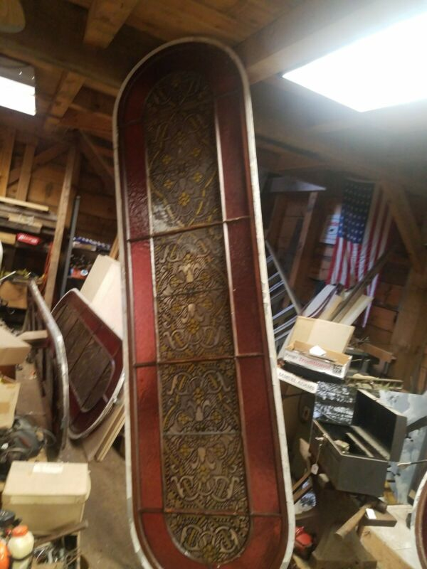 "antique / vintage stained glass window VERY LARGE  9 FOOT TALL 30"" WIDE"