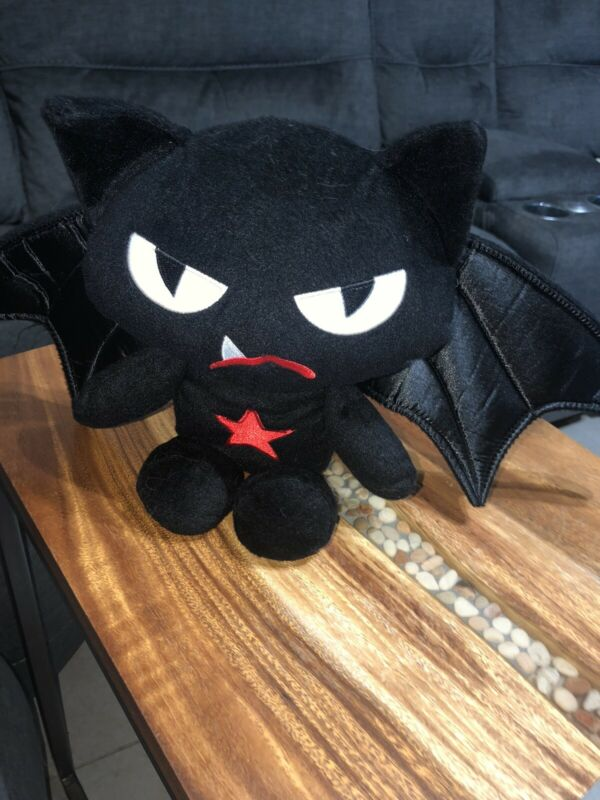 "Emily The Strange Bat Cat Black Plush Toy W/ Wings & Red Star- 11"" Tall"