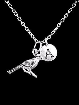 Cardinal Initial Bird Animal Friend Sister Mom Son Christmas Gift Charm Necklace