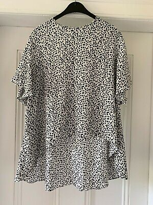 Zara polka dot blouse with fluted sleeve and high-low hem women's large