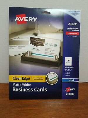 Avery Printable Business Cards Inkjet Printers 90 Cards 2 X 3.5 Clean Edge White