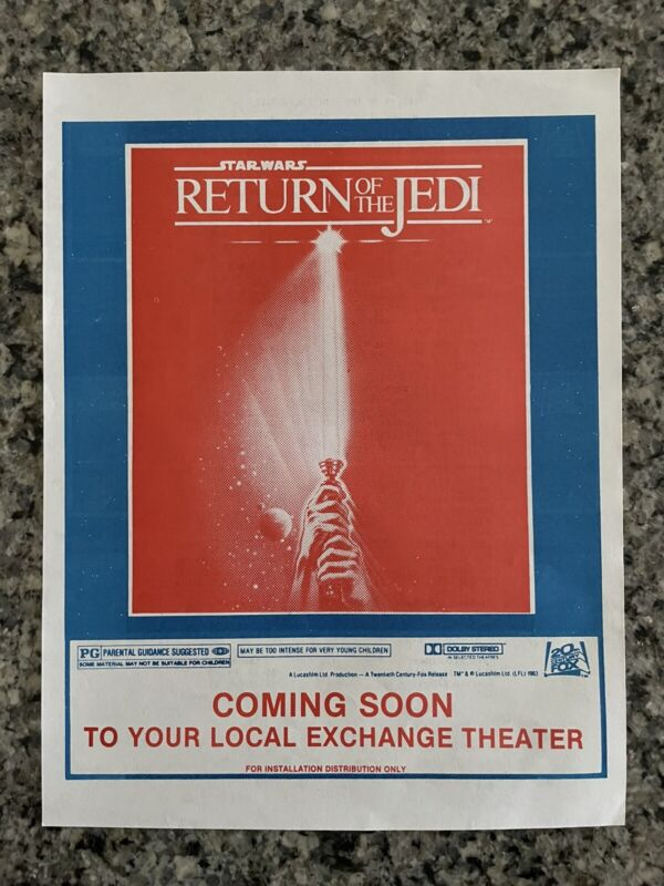 Star Wars Return Of The Jedi 1983 Military Distribution Only Movie Flyer RARE!!!