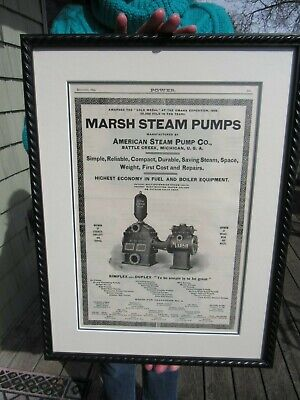 Original 1899 Marsh Steam Pumps Advertising American Steam Pump Co Battle Creek