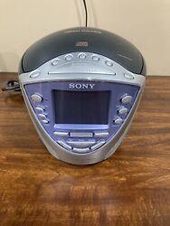 SONY Dream Machine Clock CD Radio ICF-CD853V Weather/FM/AM Black & Silver TESTED