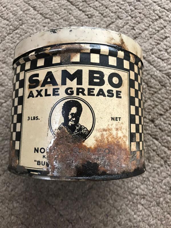 Rare Vintage Old Sambo Axle Grease Can 3 Lb Can Advertising Gas Oil NOS Kansas