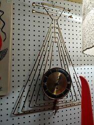 Vtg Mid Century Modern Atomic Welby Lute Guitar Key Wind Wall Clock Metal 23