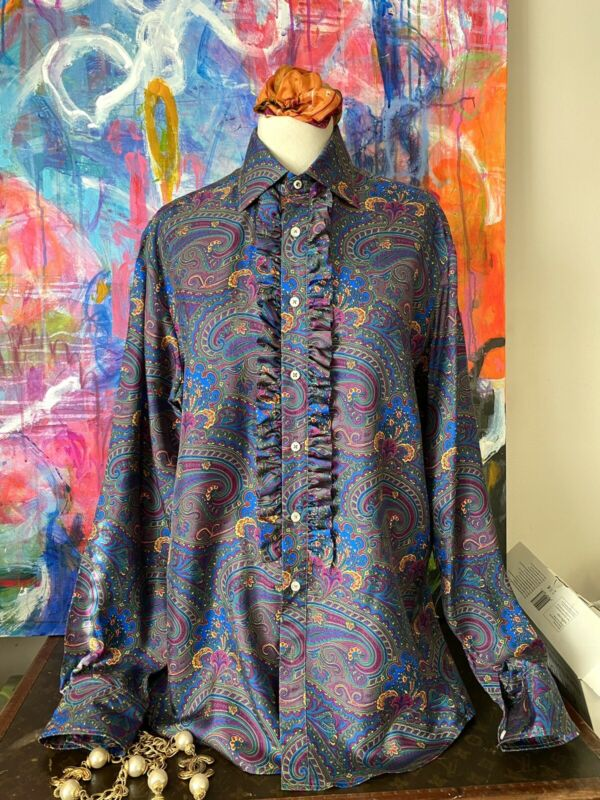 RARE Thomas Pink Beatles PAISLEY SILK Shirt Blouse Bloomingdales Unisex 2013