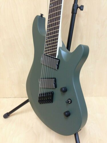 Haze Satin Military Green 7-String Fanned-Fret Electric Guitar+Bag HS-7FF MGS