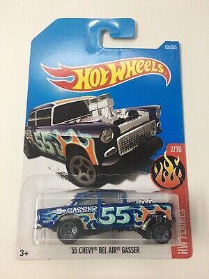 2016 Hot Wheels #109 HW FLAMES '55 CHEVY BEL AIR GASSER Blue w/ Orange Flames