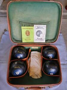 Henselite Lawn Bowls Set of 4 Size 6 Super-Grip w/ Carrying Case Linley Point Lane Cove Area Preview