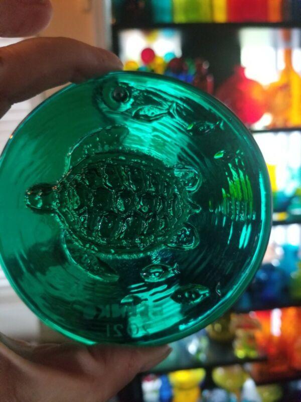 Blenko Suncatcher-  Sea Turtle design in Emerald green