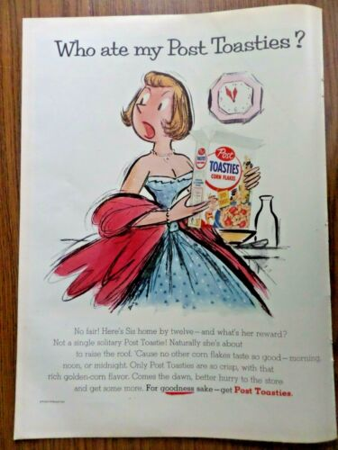 1955 Post Toasties Corn Flakes Ad Who ate my Post Toasties? Dr Wests Toothbrush
