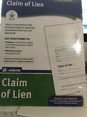 Claim Of Lien Legal Blanks Office Supplies Record Construction Lien Seller Owner