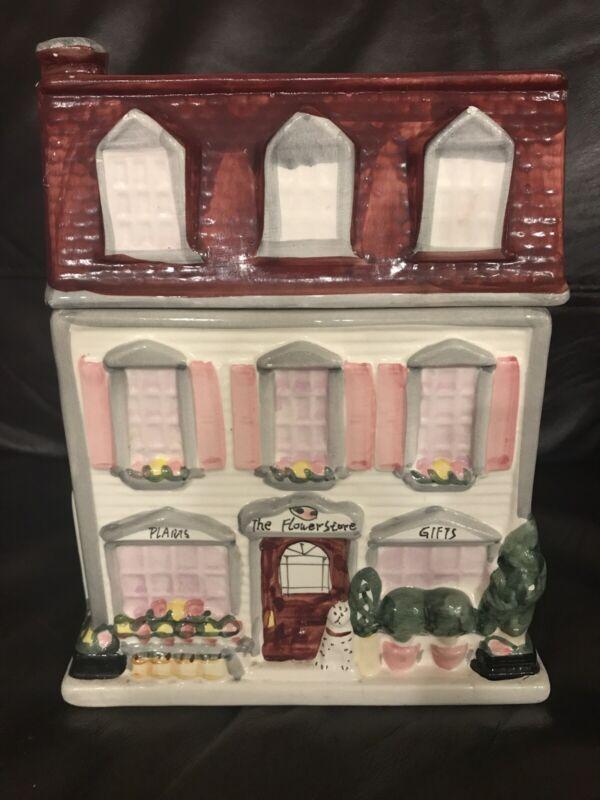 THE FLOWER STORE VINTAGE COOKIE JAR SHERWOOD BRANDS 1999 CERAMIC VICTORIAN HOUSE