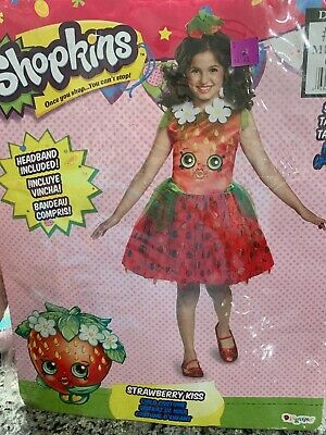 Shopkins Costume Strawberry Kiss Girls Child Costume Medium - Kiss Girl Kostüm