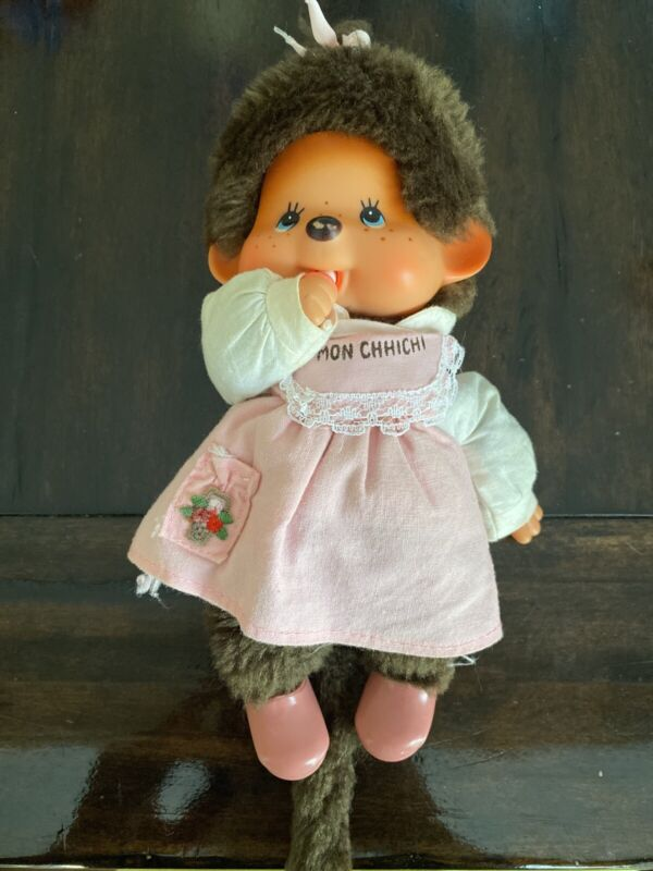 Vintage Monchhichi With Pink Dress, Pink Shoes, Bow 1974