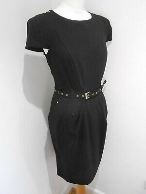 BNWT Marks & Spencer Woman black belted short sleeve office work dress...
