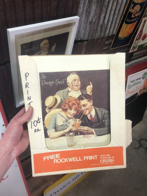 """WOW NOS IN THE BOX 15 TOTAL Norman Rockwell Orange Crush Soda Print 14"""" × 11"""""""