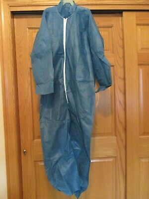 Blue Disposable Zip Up Coveralls New In Box Size Large