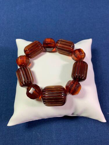Artisan Made Stretch Bracelet Repurposed Vtg. Bakelite Root Beer Barrel Beads