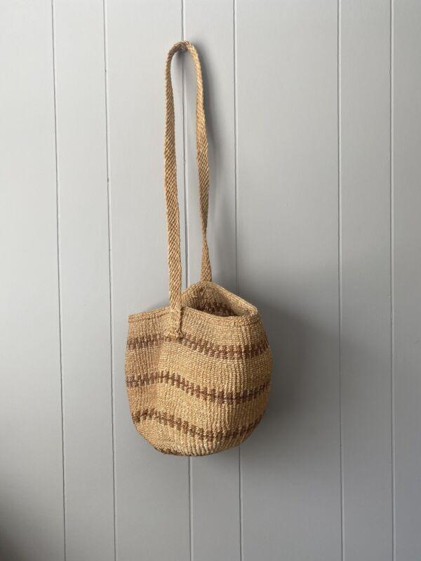 Vintage African Large Woven Basket Purse Long Strap Boho