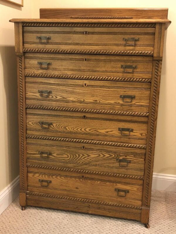 Antique Oak Chest of Drawers - Rope Details- Very Nice