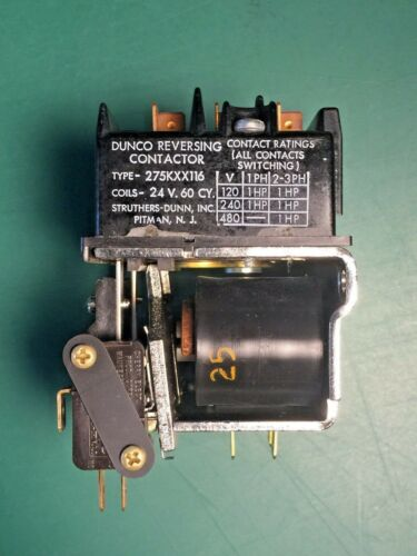 Dunco 275KXX116 Reversing Contactor 24V 60Hz, New-Old Surplus Struthers-Dunn