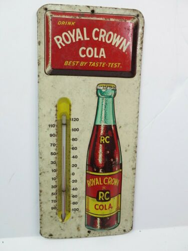 Vintage RC Royal Crown Cola Metal Advertising Soda Thermometer Sign 13.5""