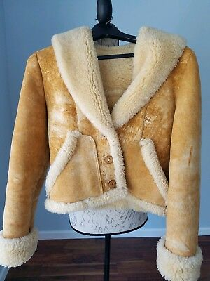 Shearling Leather Coat - Vintage Shearling Sheepskin Leather Crop Jacket Coat Ultra Warmth! XXS/XS 0/2