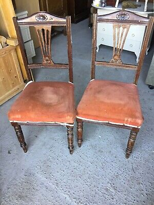 2 X Old Vintage Antique Decorative Chairs Spring Base For Upholstery 24/3/P/LB
