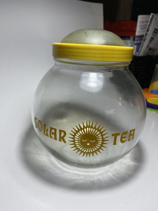 Vintage Solar Tea Round Glass Jar Clear Dome Lid Yellow Sun Brewed Iced Tea