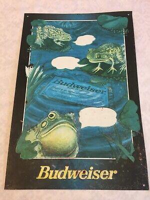 Vtg BUDWEISER FROGS Advertising Tin Metal Sign 1996 Anheuser Busch Trademark Inc