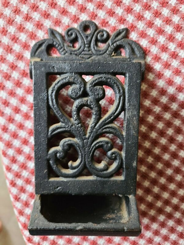 Vintage Cast Iron Black Ornate Wall Mount Matches Holder