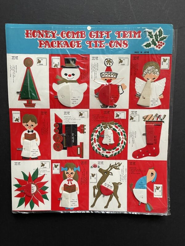 12 VTG *UNUSED Christmas GIFT CARDS Package TAGS Tie-Ons *HONEYCOMB TISSUE JAPAN
