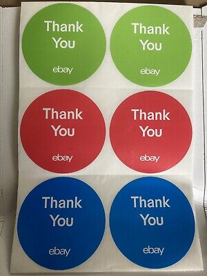 """3-Color, Round eBay-Branded Thank You Sticker Multi-Pack 3"""" x 3"""" (100) Stickers"""