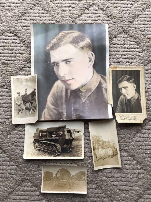 6 Original Pre WW1? Military Photos Soldier Portrait Tanks Horses ++