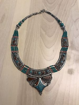 Hippie Hobo Sterling Silver 925 Tibetan Turquoise Coral Necklace Tribal Ethnic