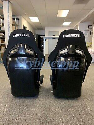 2 SEATS - BRIDE ZIEG Black Cloth FRP Fiberglass Seats Low Max JDM BUCKET VIOS