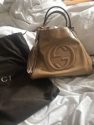 Vintage genuine Gucci tan leather shoulder bag
